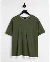 Pull&Bear Футболка Цвета Хаки С Двойным Воротом -зеленый Цвет