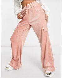 Fila Velour Cargo Pant - Pink