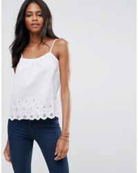 1dc5a81919f2c Liquorish - Cami Top With Broderie - Lyst