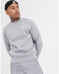 Nike – Club – es Sweatshirt mit Rundhalsausschnitt - Grau