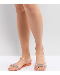 bae802537b9e Park Lane - Embellished Jelly Flat Sandals - Lyst