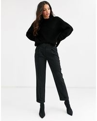 Y.A.S Savi Crop Tailolred Trousers - Black