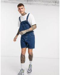 ASOS – Kurz geschnittene Jeans-Latzhose - Blau