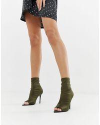 ASOS – Esther – Anliegende Stiefel mit offener Zehenpartie und Stilettoabsatz - Grün