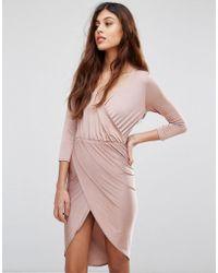 Be Jealous - Slinky Wrap Front Midi Dress - Lyst