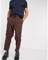 ASOS Oversized Tapered Check Smart Trouser With Cargo Pockets And Belt - Brown