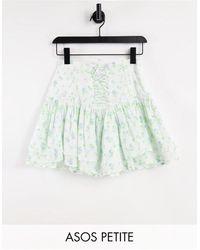 ASOS Asos Design Petite Ruffle Mini Skirt With Lace Up Detail - Multicolour