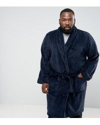 French Connection Plus Fleece Robe - Blue