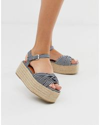 Boohoo Stacked Espadrille Sandals - Blue