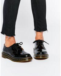 Dr. Martens Черные Лакированные Туфли На Плоской Подошве 1461-черный Цвет