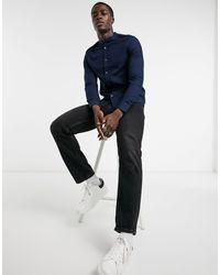 Burton Organic Cotton Long Sleeve Oxford Shirt With Grandad Collar - Blue