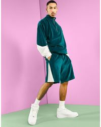 ASOS Co-ord Oversized Velour Shorts - Blue