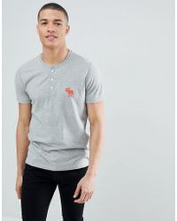 Abercrombie & Fitch - Large Icon Logo Henley T-shirt In Grey Marl - Lyst