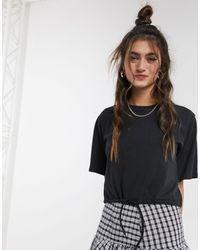 Monki Crop Top T-shirt With Drawstring Hem - Black