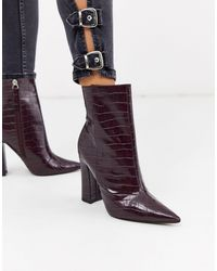 TOPSHOP Heeled Croc Pointed Boots - Purple