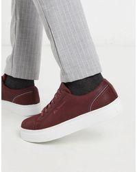 Ben Sherman Zapatillas con cordones y suela gruesa en marrón - Rojo