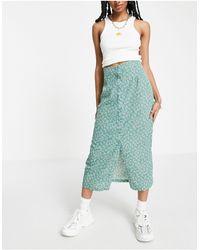 Daisy Street Button Through Midi Skirt - Green