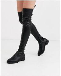New Look Черные Ботфорты Из Искусственной Кожи -черный