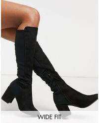 New Look Черные Эластичные Сапоги До Колен На Блочном Каблуке -черный Цвет