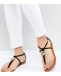 London Rebel - Embellished Flat Sandals - Lyst