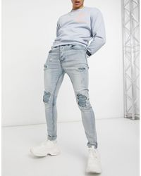 Sixth June Distressed Skinny Jeans With Inside Panel - Blue