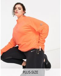 Nike - Свитшот Под Куртку Персикового Цвета С Короткой Молнией Air Plus-оранжевый Цвет - Lyst