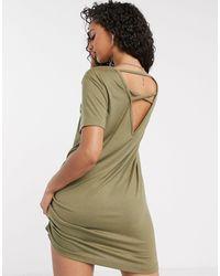 Missguided Платье-футболка Цвета Хаки -зеленый Цвет