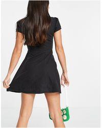 ASOS Asos Design Tall Soft Denim Square Neck Tea Dress - Black