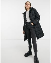 Pieces Padded Coat With Polka Dot - Black