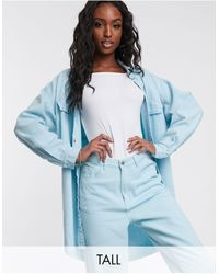 Missguided Co-ord Oversized Denim Shirt - Blue