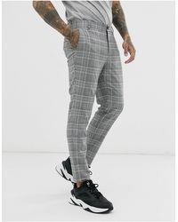 Bershka Pantalon skinny - Carreaux gris
