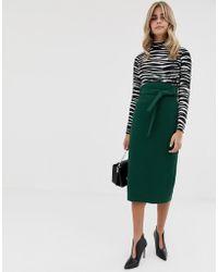 ASOS High Waist Midi Skirt With Tie - Green