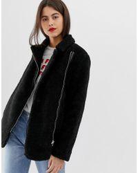 Vila Fuzzy Aviator Coat - Black