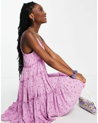 Pimkie Strappy Frill Floral Dress - Purple
