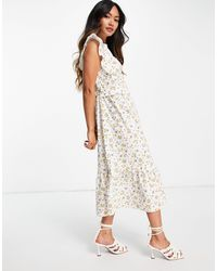 ALIGNE Organic Cotton Midi Dress With Frill Detail And Tie Back - Multicolour