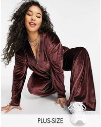 Fashionkilla Exclusive Velour Zip-through Hoodie Co-ord - Brown