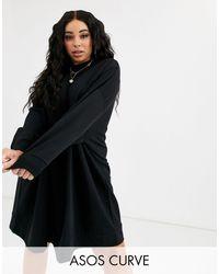 ASOS - Vestido negro estilo sudadera extragrande - Lyst