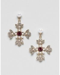 ASOS - Earrings In Vintage Style Cross Design With Jewels And Pearls In Gold - Lyst