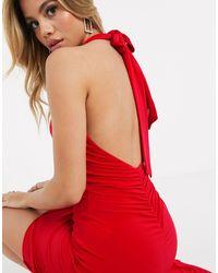 Club L London Club L Halterneck Slinky Maxi Dress - Red