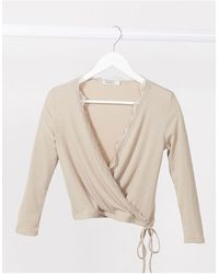 Stradivarius Wrap Long Sleeve Top With Lace Detail - Natural