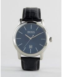 BOSS - By Hugo Classic Leather Watch In Black - Lyst