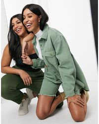 Missguided Co-ord Longline Denim Shorts - Green