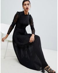 Y.A.S - High Neck Lace Maxi Dress With Pleats - Lyst