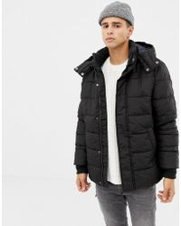 Benetton Hooded Puffer Jacket - Black