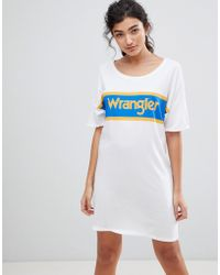 Wrangler Blue And Yellow Logo T-shirt Dress - White
