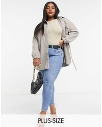 Missguided Belted Shacket - Gray