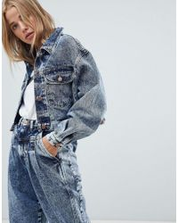 Wrangler - Cropped Denim Jacket In Stonewash - Lyst