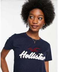 Hollister Темно-синяя Футболка С Логотипом -темно-синий