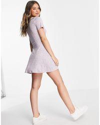 Pull&Bear V Neck Floral Mini Dress - Purple