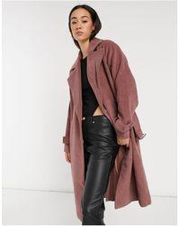 Y.A.S Manteau ajusté en laine avec ceinture à la taille - Mauve - Rose